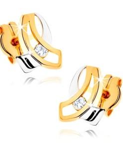 Bijuterii eshop - Cercei în doua cusori din aur 375 - doua linii îndoite suprapuse, zirconiu transparent GG41.03