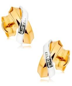 Bijuterii eshop - Cercei în doua cusori din aur 9K - arcuri suprapuse, dung? de zirconii mici GG42.01