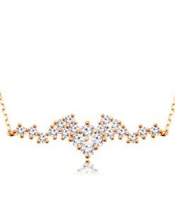 Bijuterii eshop - Colier realizatadin aur de 9K,Lant compus din zale ovale,zirconii transparente unite GG194.38