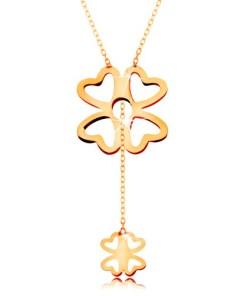 Bijuterii eshop - Colier realizatadin aur galban 585 - trifoi cu patru foi mai mare si mai mic, Lant lucios GG160.09