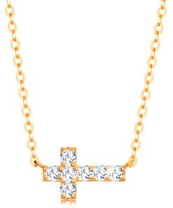 Bijuterii eshop - Colier realizatadin aur galban de 14K - cruce stralucitoare din zirconiu, Lant lucios GG138.01