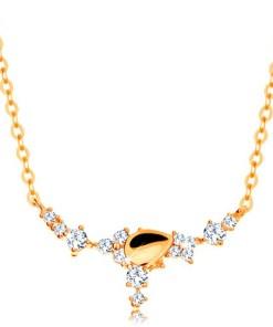 Bijuterii eshop - Colier realizatadin aur galban de 14K - pic?tur? si flori din zirconii transparente, Lant GG138.10