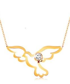 Bijuterii eshop - Colier realizatadin aur galban de 9K - model porumbel lucios cu zirconiu transparent,Lant GG194.18