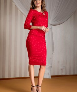 Compleu Ginette rosu cu bluza si fusta cu buline satinate
