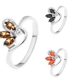 Bijuterii eshop - Inel argintiu cu brate ramificate, zirconii colorate formand o jumatate de floare AB29.03 - Marime inel: 49, Culoare: Maro