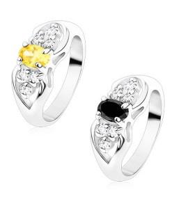 Bijuterii eshop - Inel argintiu, fundi?? cu oval colorat si zirconii transparente S15.20 - Marime inel: 49, Culoare: Galban