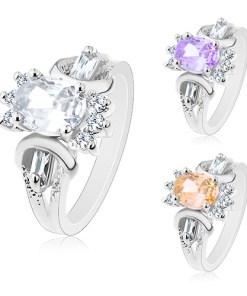 Bijuterii eshop - Inel argintiu, oval ?lefuit colorat, zirconii transparente rotunda si alungita M05.15 - Marime inel: 49, Culoare: Mov Deschis