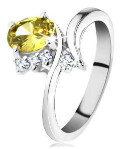 Bijuterii eshop - Inel argintiu stralucitor, zirconiu oval de culoare galban? H4.16 - Marime inel: 49