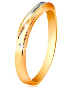 Bijuterii eshop - Inel bicolor din aur 585 - val realizatadin aur alba zirconiu rotundasi transparent GG193.29/35 - Marime inel: 49
