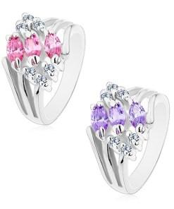 Bijuterii eshop - Inel cu brate despicate, decorat cu zirconii transparente si bobi?e colorate M06.25 - Marime inel: 49, Culoare: Roz