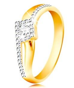Bijuterii eshop - Inel din aur 14K - brate curbate si despartite, zirconiu rotundaîn romb GG213.55/59 - Marime inel: 51