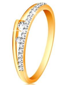 Bijuterii eshop - Inel din aur 14K - brate despicate, linie stralucitoare, doua zirconii transparente GG190.73/80 - Marime inel: 49