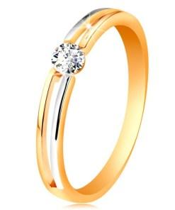 Bijuterii eshop - Inel din aur 585, brate subtiri bicolore cu decupaj si zirconiu transparent GG190.10/16 - Marime inel: 52