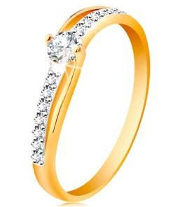 Bijuterii eshop - Inel din aur 585 cu brate bicolore, separate, zirconii transparente GG197.56/64 - Marime inel: 49
