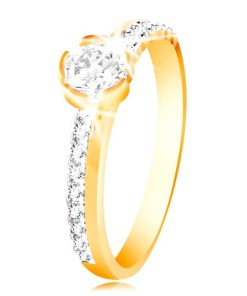 Bijuterii eshop - Inel din aur 585 - linie de zirconii pe brate, zirconiu mare transparent GG215.42/48 - Marime inel: 49