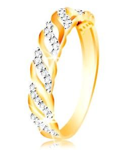 Bijuterii eshop - Inel din aur 585 - linii neteda si zirconii GG214.31/37 - Marime inel: 51