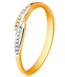 Bijuterii eshop - Inel din aur de 14K, brate cu capete bicolore, l??ite si zirconii încorporate GG189.58/64 - Marime inel: 49