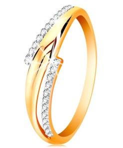Bijuterii eshop - Inel din aur de 14K, brate ondulate, bicolore, linii cu zirconii transparente GG201.66/73 - Marime inel: 50