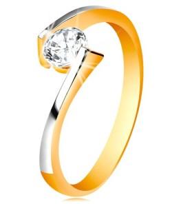 Bijuterii eshop - Inel din aur de 14K - zirconiu  între capetele bratelor GG197.29/38 - Marime inel: 48
