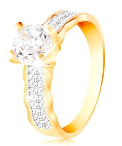 Bijuterii eshop - Inel din aur de 14K - zirconiu mare, linii de zirconii, margini curbate GG213.75/80 - Marime inel: 56