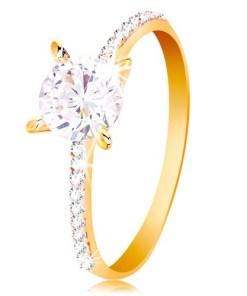 Bijuterii eshop - Inel din aur galban 14K - zirconiu rotundatransparent, linie de zirconii pe brate GG200.01/07 - Marime inel: 50