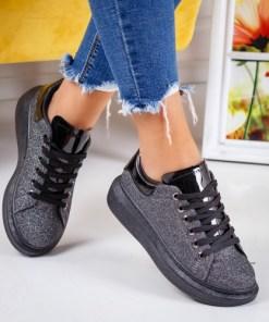 Pantofi dama sport alte materiale gri cu gliter Nilavi