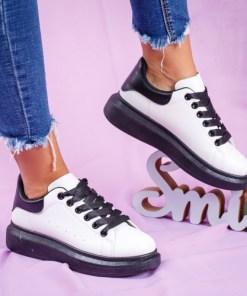 Pantofi dama sport piele ecologica albi cu talpa neagra Nilavi