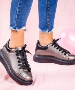 Pantofi dama sport textil gri metalic Darcia