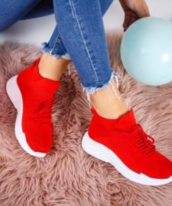 Pantofi dama sport textil rosii Vamsi