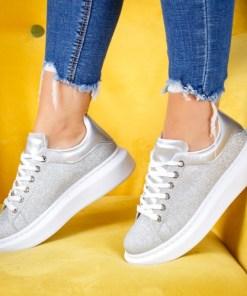 Pantofi sport dama alte materiale argintii cu gliter Nilavi
