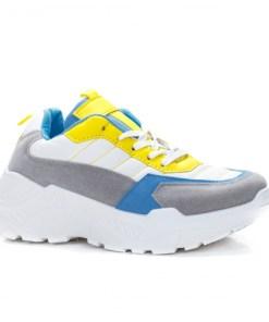 Pantofi sport dama piele ecologica gri cu galben Mafirio