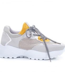 Pantofi sport dama piele ecologica gri Maniva