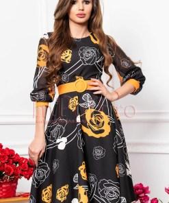 Rochie eleganta neagra clos cu imprimeu floral alb cu portocaliu si maneci din voal