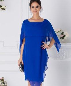 Rochie Jeny albastra cu volane petrecute