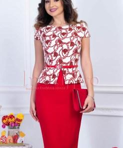 Rochie rosie eleganta tip compleu cu alb si curea in talie