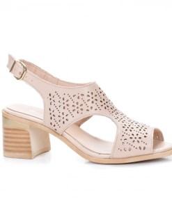 Sandale cu toc dama piele naturala bej perforate Niumi