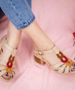Sandale cu toc dama piele naturala bej Poruta