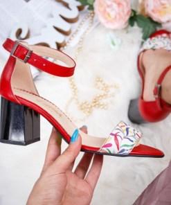 Sandale cu toc dama piele naturala rosii Vabitili