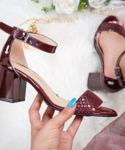 Sandale cu toc dama piele naturala visinii cu buline Vabitili