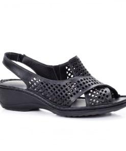 Sandale dama cu platfroma piele naturala negre Tinari