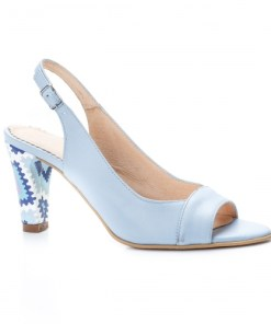 Sandale dama cu toc piele naturala albastre Sorila
