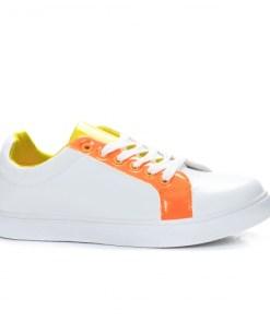 Tenisi sport dama piele ecologica albi cu portocaliu Viati