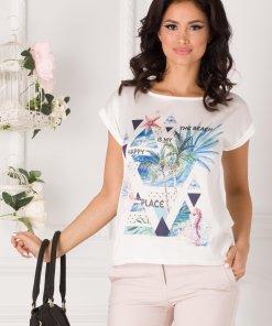 Tricou de dama din vascoza cu imprimeu pe fata