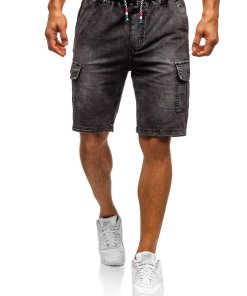 Pantaloni scurți denim bărbați negri Bolf 5781