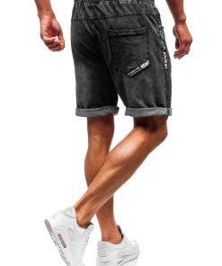 Pantaloni scurți denim bărbați negri Bolf 5788