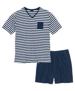 Pijama cu pantaloni scurti bonprix - marin/alb dungat
