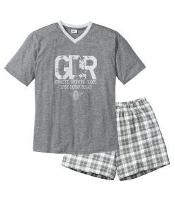 Pijama scurta bonprix - gri melanj, alb