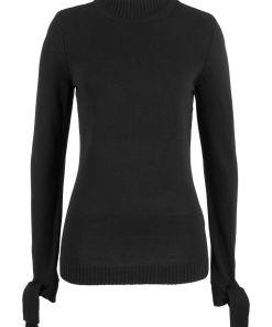 Pulover tricotatacu detaliu cu fund?, bumbac reciclat bonprix - negru