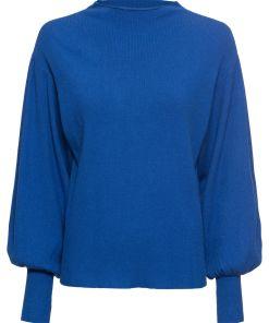 Pulover tricotatacu mâneci tip balon bonprix - albastru regal