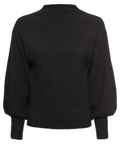 Pulover tricotatacu mâneci tip balon bonprix - negru